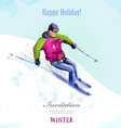 Winter sport watercolor skier vintage poster for vector