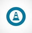 Construction cone bold blue border circle icon vector