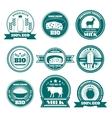 Eco farm milk dairy products emblems vector