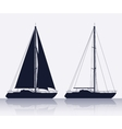 Set of luxury yachts silhouette vector