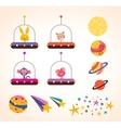 Cute animals in space ships kids design elements vector