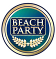 Beach party blue label vector