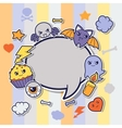Halloween kawaii greeting card with cute sticker vector