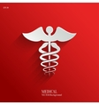 Caduceus medical symbol- white app icon vector