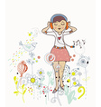 Poster of girl listening to the music with flowers vector