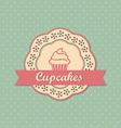 Cupcakes retro style label on polka dots pattern vector