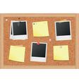 Cork bulletin board with notes and photos vector
