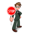 Man with stop sign vector