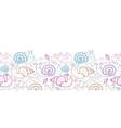 Cute smiling snails horizontal seamless pattern vector