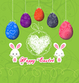 Easter eggs doodle greeting card vector