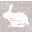 Easter rabbit easter card with floral pattern vector