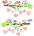 Cards with couples of birds sitting on branches vector