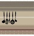 Rack of kitchen utensils vector