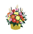 Basket of abstract flowers vector