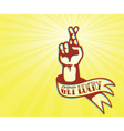 Get lucky tattoo design hand with crossed fingers vector