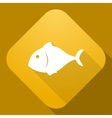 Icon of fish with a long shadow vector