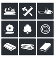 Woodworking icons set vector