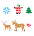 Christmas nordic pattern icons set vector