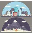 Winter snow urban countryside landscape city vector