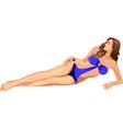 Beautiful girl in blue bikini vector