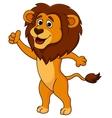 Cute lion cartoon thumb up vector