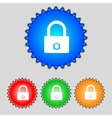 Lock sign icon locker symbol set colur buttons vector