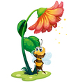 A bee standing under the big flower vector