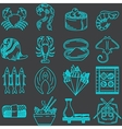 Seafood line icons collection vector