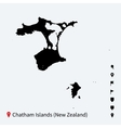 High detailed map of chatham islands with vector