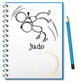 A notebook with a sketch of two people doing judo vector