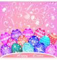 Postcard at easter eggs vector
