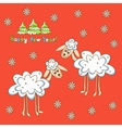Card two sheep for the new year vector