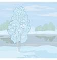 Winter landscape tree on the shore vector