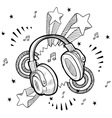 Doodle pop headphones audio music vector