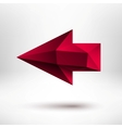 3d red left arrow sign with light background vector