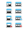 Single shop store supermarket icons set vector