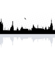 City reflected in the water with bird vector