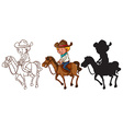 Sketches of a man riding a horse vector