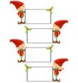 Red elf holding blank board vector