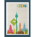 Travel oceania landmarks skyline vintage poster vector