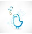 Bird singing grunge icon vector
