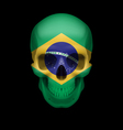 Brazilian flag skull vector