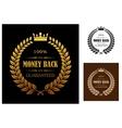 Golden money back guarantee labels vector