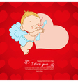 Postcard valentines day with cupid background vector