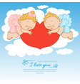Valentines day card with two angels background vector