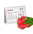Calendar with hand written red heart february 14 vector