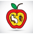 Apple with a worm in doodle style vector