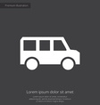 Bus premium icon white on dark background vector