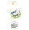 Calendar for 2015 july vector