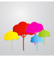 Colorful trees cut from paper on grey backgr vector
